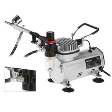 3 Airbrush Kit W/ Air Compressor Dual-Action Hobby Spray Air Brush Set Tattoo Nail Art Paint Supply w/ Cleaning Brush