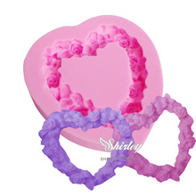 M282 DIY Cake Decorating Loving Rose Heart Lace Shaped Fondant Sugar Art Tools DIY Cake Decorating Tools 3D Silicone Molded