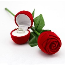 Romantic Red Rose Flower Velvet Wedding Ring holder Earrings Storage Display Case Pendants Jewelry Gift Box Valentines Day gift(China)
