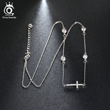 ORSA JEWELS 2017 New Fashion Shiny CZ Cross Pendant Silver Color Necklace for Women Wedding Party Jewelry ON116(China)
