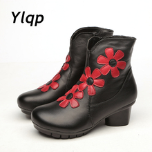 2017 Big Red Flower Women Boots Cow Round Toes Ankle Boots High Heels Handmade Shoes Vintage Genuine Leather Boots Ladies(China)
