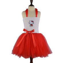 Sleeveless Clothing Printed Embroideryatst Tops Soft Hot Pink Tutu Dresses for Girls Hello Kitty Pink White Red Toddler Dresses