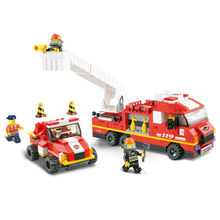Building Block Sets city Fire Department emergency 3D Construction Brick Educational Hobbies Toys for Kids(China)