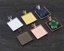 20pcs 12mm Square Inner Size 4 Colors Plated Brass Material Simple Square Style Cabochon Base Cameo Setting Charms Pendant Tray(China)