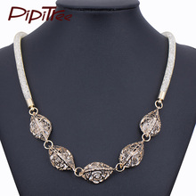 Vintage Black Gold Color Choker Necklace with Full Crystal Filled Mesh Chain Women Collier Necklaces&Pendants Jewelry(China)