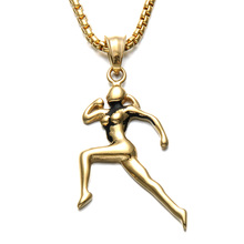 HIP Trendy Gold Color Gym Runners Necklaces Stainless Steel Women Sports Pendants & Necklaces for Men Jewelry Girlfriend Gift(China)