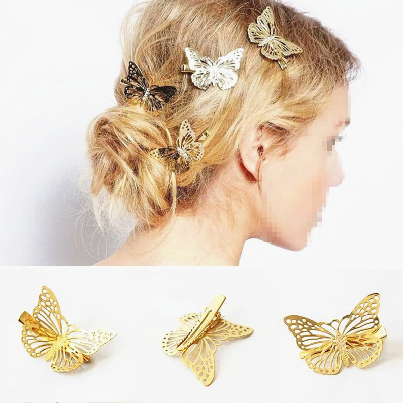 Large Metal Glitter Butterfly Hair Sliding Combs Butterflies Set of 6 New Clips
