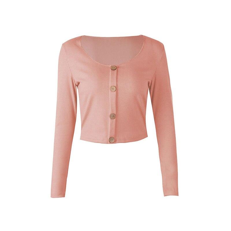 Crop Top Women Long Sleeve Button O-neck Spring Summer T Shirt Women Sexy Camiseta Mujer Women Tshirt Tee Shirt Femme 2019 Tops225