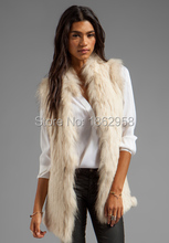 SJ362 England Design Clothes New Fashion 70CM Rabbit Knit Vest with Raccoon Collar Made in China