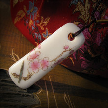 H:HYDE Classic Wintersweet Pattern Porcelain Necklace Jewelry Knitting Sweater Ceramic Long Strips Pendant Necklace