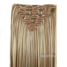 "7pcs/set 24""/60cm Long Straight Clip in Hair Extensions Heat Resistent Brown mix blonde hair piece (NWG0HE61087-XL2)"