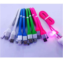 High-elastic TPE Colorful light-colored noodle data lines over 2.1A with fast-charge mobile phone data cable