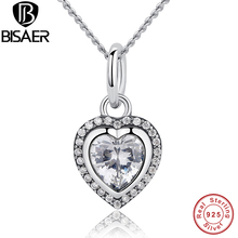2016 New Authentic 100% 925 Sterling Silver Heart Necklaces & Pendants Compatible with Pan Wedding Jewelry Gift for Lover HJS260
