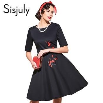 Sisjuly vintage dress noir blanc imprimé floral dress fleur 2017 mode automne robes robe de festa noir femmes robes