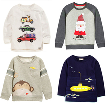 Brand new 1-6Y Boys T-shirt Kids Tees  cardigan blouse jacket Children sweater Baby Boy shirts Long Sleeve 100% Cotton lion cars