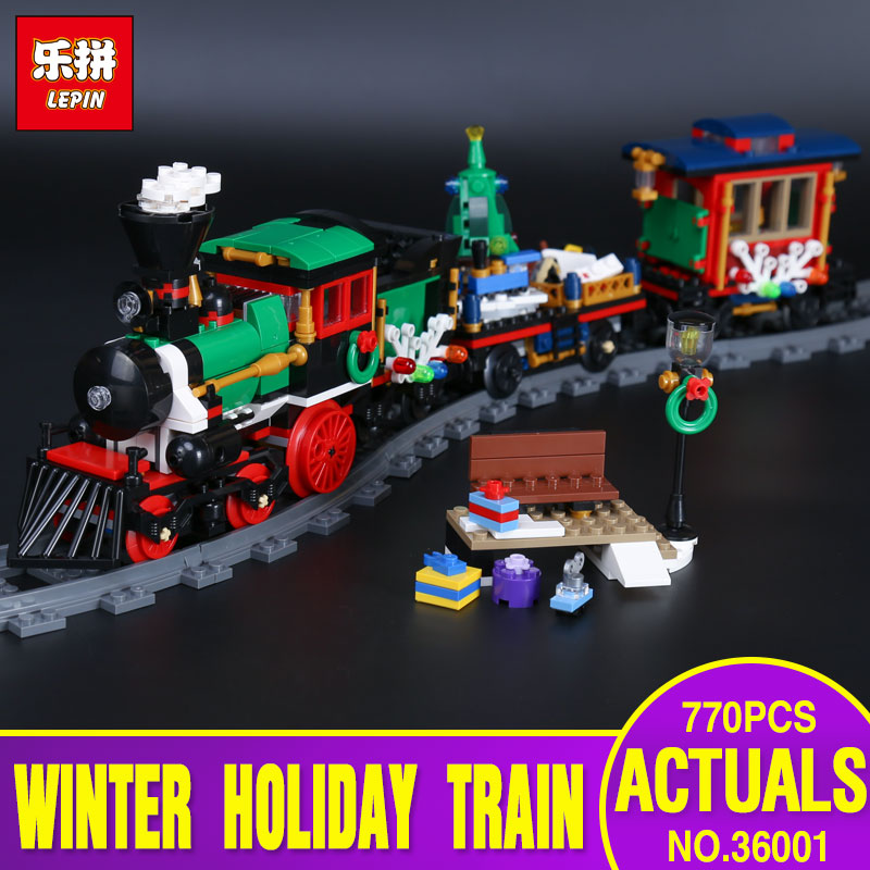 Lepin 36001 770Pcs Creative Series The Christmas Winter Holiday Train Set Children Educational Building Blocks Bricks Toys 10254<br>