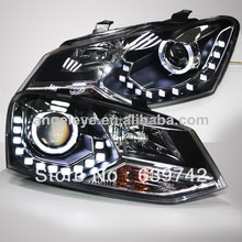 For VW Cross Polo LED Angel Eyes Head Lamp with Projector Lens 2011-2013 year LD(China)