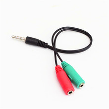 New 3.5mm Extension Audio Splitter Cable + Mic Earphone Headphones Jack 1 to 2 Y Stereo Splitter for iPhone 5S for Samsung