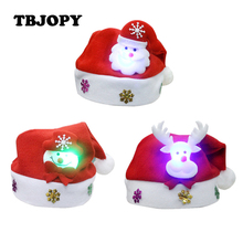 New Creative Lovely LED Xmas Hat Caps with Light Action Toy Figures Christmas Decoration Snowman Kids Toys for Children Gifts(China)