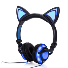 2017 Cat Ear headphones LED Ear headphone cats earphone Flashing Glowing Headset Gaming Earphones for Adult and Children