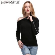 [TWOTWINSTYLE] Spring Zipper Long Sleeves High Collar Off Shoulder Kintted Sweatshirt Women New Streetwear(China)