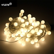 SXZM AC220V or 110V 10M 100led waterproof 18mm Ball led string lights garland outdoor decorations party/garden/home EU US plug(China)
