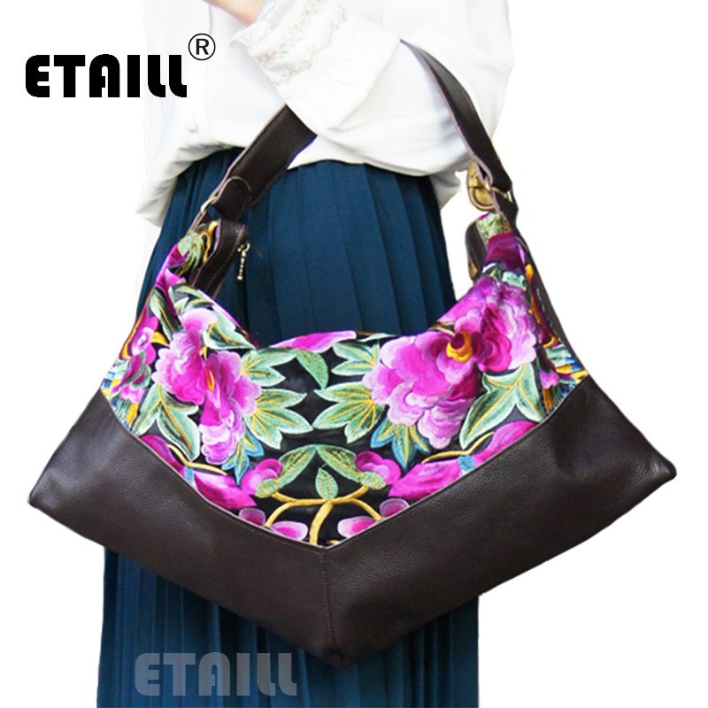 Fashion Women Ethnic Leather Embroidery Bags Floral Handmade Embroidered Shoulder Bags High Quality Leather Brand Bags Women<br><br>Aliexpress