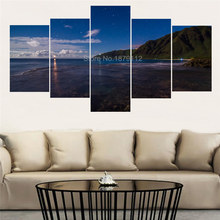5 Pcs Wall Art Blue Sky Seacape Landscape Modular Wall Paintings Wall Pictures For Living Room Quadros De Parede Para Sala