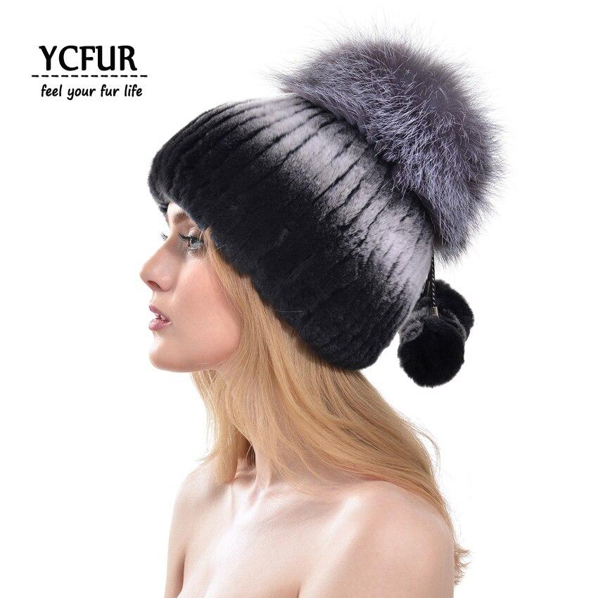 YCFUR Winter Women Fur Hats Caps Stripes Rex Rabbit Fur Cap With Fox Fur Beanies Female Ear Protect chapeau Femme Mother HatÎäåæäà è àêñåññóàðû<br><br>