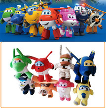 8 style 2016 Stuffed Plush doll Super wings Airplane Robot Action Figure collection gift kid Toys for children Brinquedos(China)