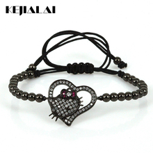 Luxury Fashion Shiny Noble Heart Charm Bracelets Hello Kitty & LOVE & Angle Wings Lovely Jewelry for Women Girls Pulsera Gift(China)