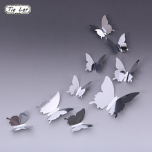 TIE LER 24 PCS Fashion Personality Mirror Sliver 3D Butterfly Wall Stickers Party Wedding Decor DIY Home Decorations(China)