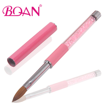 BQAN Free Shipping Pink Rhinestone Handle Nail Brush Acrylic Nails Pure Kolinsky Oval Nail Brush 10#(China)
