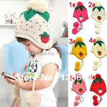 Kids Girls Baby Knitting Crochet Hat Strawberry Pattern Cap 4 Colors 1-6 Years Free&Drop Shipping
