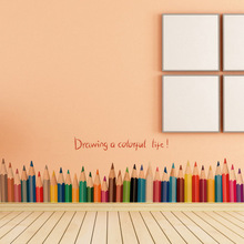 New Fashion Drawing A Colorful Life pencil waist line paint wall sticker home decor Skirting Line Door Background Stair kid room(China)