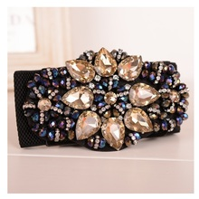 Vanled Women'S Wide Elastic Belt Rhinestones Flower Belts Luxury Crystal Retro Girls Jeweled  Girdle Korean Style