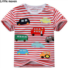 Little maven kids brand clothing summer baby boys clothes short sleeve striped t shirt Cotton bus car printing tee tops L034