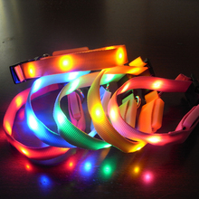 Factory Price! Lovely Pets Safety LED collar Light Flash Night Waterproof Nylon Collar Width 1.5cm Small Size