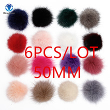 MINGXUAN 6pcs/lot 50mm Mink Fur Half Ball Fur Pompom DIY Jewelry Findings Mink Half Ball for shoes Jewelry Cloth Making Craft(China)