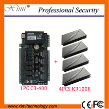 Door Access Control systems Good quality ZK C3-400 Intelligent Four-door one-Way Access Controller Panel+4PCS KR100E ID Reader(China)