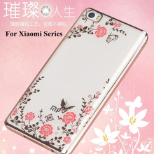 Luxury Diamond flowers Pattern Back Cover Soft TPU Phone Case For Xiaomi 4 4C 5 5S Mi Note2 Redmi 2 3 Pro 4 Prime 4A Note 2 3 4