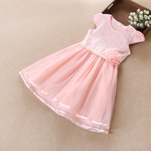 Shybobbi New Girls Dress Pink Pearl Flower Lace Tulle Party Pageant Birthday Elegant  Kids Clothing Size 6-12