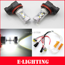 PAIR SUPER Bright 50W Xenon White H11 LED Fog Light DRL HeadLight + Resistors No Error for Audi A3 A4 A5 S5 A6 Q5 Q7 TT(China)