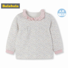Balabala Infant Baby Girl Soft Cotton Ruffled Collar Long Sleeve Shirt Sweatshirt Open Shoulder Ribbing at Cuff for Newborn Baby(China)