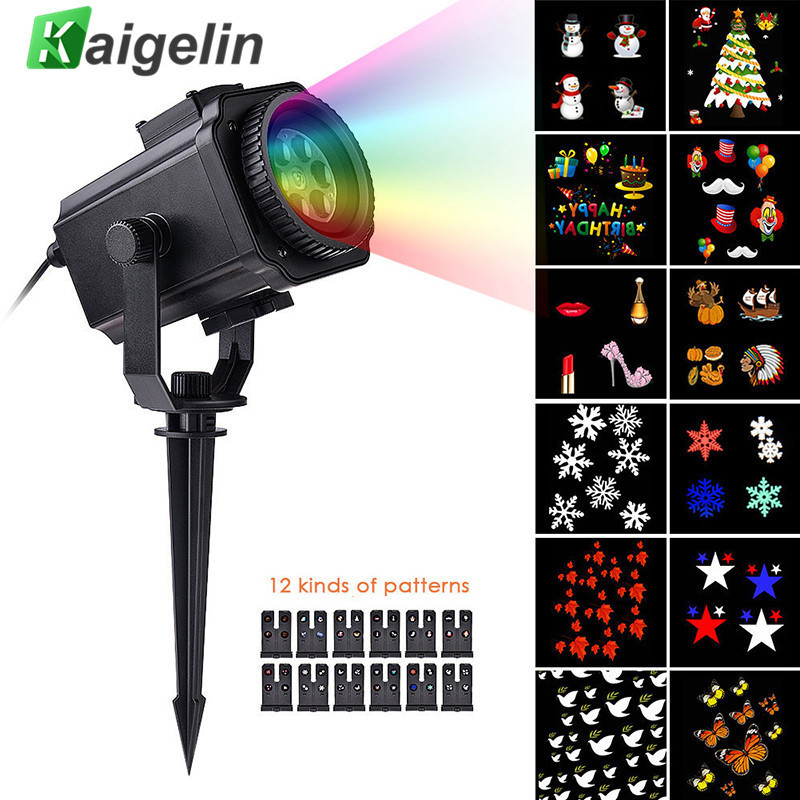 Waterproof LED Stage Light 12 Film Cards Christmas Lights Laser Snow Projector Holidays Decorations For Home New Years Decor<br>