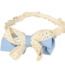 High Recommend Buy direct from China Sweet Girl Head Accessories Hairband Bowknot Lace Headwear elastic hair bands wreath