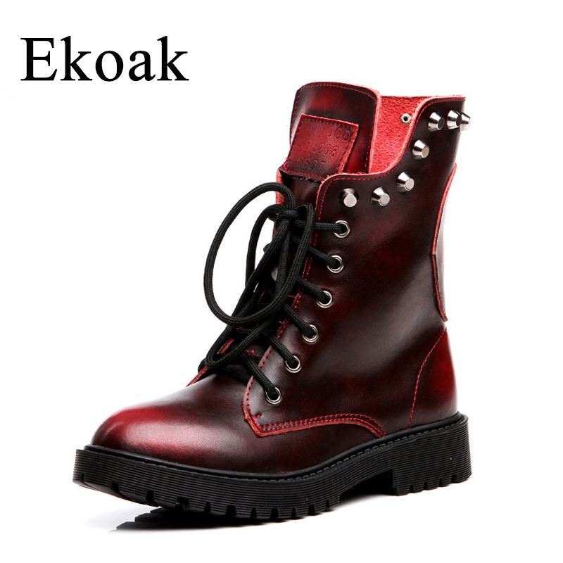 Ekoak new 2017 fashion genuine leather boots Cowhide ankle boots women autumn winter martin boots  lace up rivets shoes woman<br>
