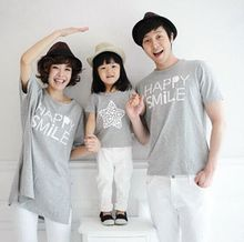 2017 Children's Sets Summer family look mother and daughter clothes  boy and father family matching outfits t-shirt gray