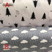 Black pine clouds cotton twill fabric fabrics for patchwork DIY handwork dress cloth doll clothes