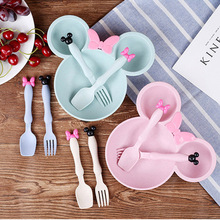 3Pcs/Set Cartoon Baby Tableware Set Baby Trainning Dishes Plate Dish With Spoon Fork Baby Bowl Prato Infantil(China)